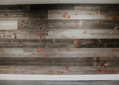 Grey & Red Barn Wood Accent Wall