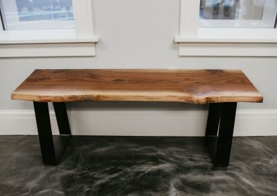 Live Edge Walnut Bench with Metal Legs
