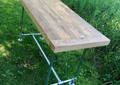 Reclaimed 100 year old ash barn wood console table with galvanized pipe frame